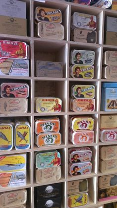 Portuguese canned sardines or tuna. Many are available in our shop at Casa Flor de Sal.