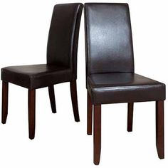 Brooklyn + Max Brunswick 2-Pack Brown Faux Leather Parson Chair, $115.50, Walmart online.