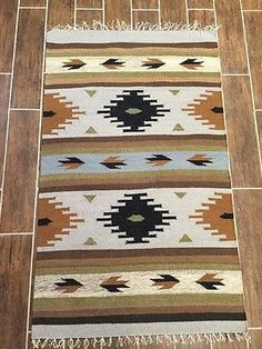 # This is a Kilim Rug with very nice decorative colors. Size 3 feet x 5 feet ( size may vary in inches. A couple of inches longer or shorter as its hand made) 100 % wool and Navajo Weaving, Tapestry Weaving, Hand Weaving, Motif Navajo, Navajo Rugs, Weaving Patterns, Wall Patterns, Diy Carpet, Rugs On Carpet