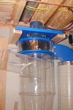 ClearVue Cyclone Installation Cyclone and Piping Diy Wood Projects, Home Projects, Downdraft Table, Flooded Basement, Dust Collector, Built In Bench, Kitchen Aid Mixer, Woodworking Tips, Woodworking