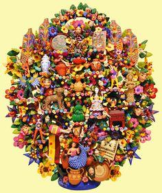 6. Mexican Folk Art ~ Oscar Soteno's Tree of Life depicting different Mexican Folk Art styles.
