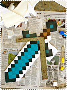 How to make a minecraft diamond sword and diamond pickaxe | KerryAnnMorgan.com