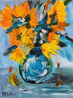 Yellow flowers in a vase by Rine Philbin Irish artist impressionism Flowers In Vase Painting, Yellow Painting, Abstract Flowers, Flower Paintings, Blue Abstract, Art Floral, Original Art, Original Paintings, Bird Artists
