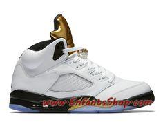 100% authentic 29802 b57ad Air Jordan 5 Retro Olympic Chaussures Nike Basket Pas Cher Pour Homme Blanc  Noir Or 136027