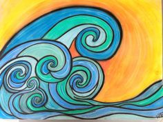 Primary School Art, Elementary Art, Sea Drawing, Sun Painting, Posca Art, Art Worksheets, Cool Art Projects, Wave Art, Art Programs