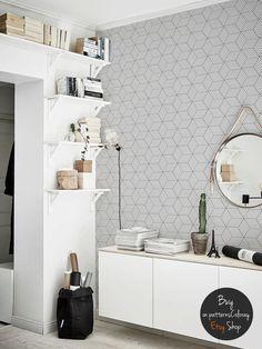 Grigio geometrica cubi modello, carta da parati rimovibile, stile scandinavo #65