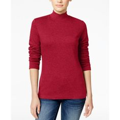 Karen Scott Petite Mock-Neck Top, ($11) ❤ liked on Polyvore featuring tops, sweaters, new red amore, petite sweaters, mock turtleneck, ribbed sweater, mock neck sweater and mock neck top