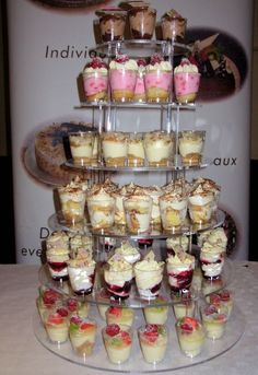 Great alternative to large desserts - why not order La Creme Mini Dessert Cups for your next party. Available in a variety of flavours and beautifully displayed on our dessert tower, the cups are a fantastic centre piece for any. Mini Desserts, Mini Dessert Cups, Wedding Desserts, Dessert Bars, Dessert Recipes, French Desserts, Mini Dessert Shooters, Shot Glass Desserts, Wedding Cakes