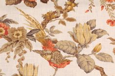 Floral/Vine Prints :: Richloom Dashwood Printed Linen Drapery Fabric in Spice $11.95 per yard - FabricGuru.com: Discount and Wholesale Fabric, Upholstery Fabric, Drapery Fabric, Fabric Remnants