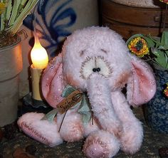 "Primitive Raggedy Elephant Fuzzy Bear 5"" Circus Doll Vtg Patti's Ratties Ornie"