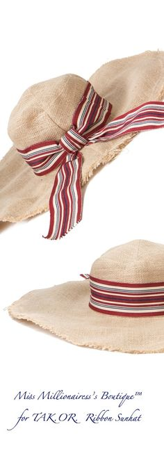 TAK.OR. Ribbon Embellished Straw SunHat - Miss Millionairess s Boutique™  Ropa Para Clima f0684fd7c69
