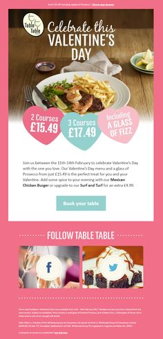 Valentine's Day Email from Table Table  #EmailMarketing #Email #Marketing #ValentinesDay #Food #Restaurant #Valentines #Day