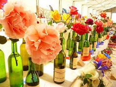 Wine bottle vases! #green #DIY - check out blog for more ideas