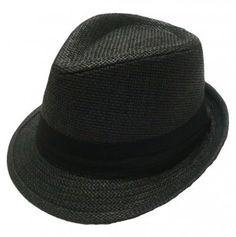 af33bad93c42b All black kids Fedora Hat