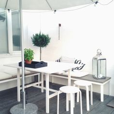 terrace: diy floor, table & benches // modernekohome | Lily.fi