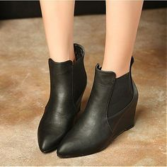 Womens Boots | Fabulous Black Leather Pointy Closed Toe Wedge Mid Heel Boots - Hugshoes.com