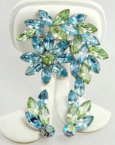 Vintage Blue and Green Rhinestone Floral Demi-Parure