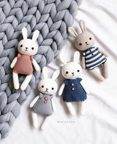 Little bunnies 🐰 by Hainchan 💖 – Best Amigurumi Crochet Animal Patterns, Stuffed Animal Patterns, Crochet Patterns Amigurumi, Crochet Dolls, Bear Patterns, Crochet Animals, Doll Patterns, Bunny Crochet, Crochet Teddy
