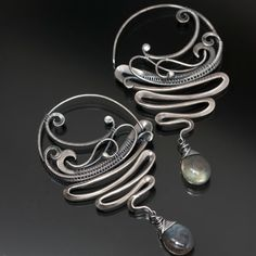 Labradorite Earrings Fine Silver Hoops Tornado by sarahndippity