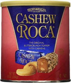 Cashew Roca 10oz Canister Canisters, Toffee, Cocoa, Beans, Brown, Classic, Gift, Products, Sticky Toffee