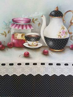 Pin by Socorro Gonçalves on Pintura Decoupage, Mug Cozy, Goncalves, Kitchen Art, Collage Sheet, Fabric Painting, Tea Set, Folk Art, Stencils