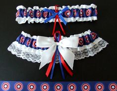 Captain America garter set, featuring our favorite US Army Soldier and one of the Avengers - completely handmade by PikesPeakCreations using