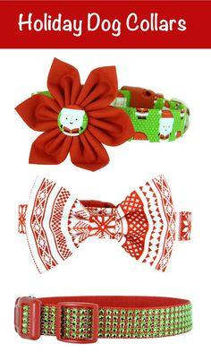 Holiday Dog Collar | Rhinestone Dog Collar | Bow Tie Dog Collar | Flower Dog Collar | Red and Green |  Christmas