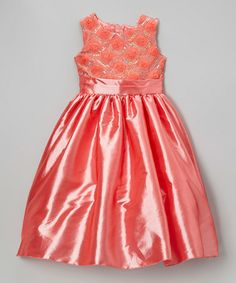 Coral Rosette Lattice Chiffon Dress - Infant, Toddler & Girls by Kid Fashion on #zulily today!