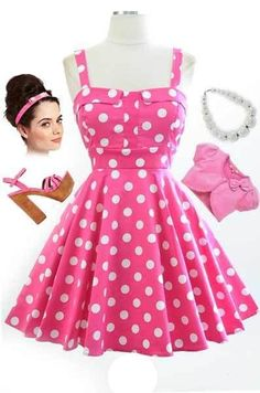 bf9ad2a0ca 50s Style PINK   White POLKA DOT Bombshell PINUP Full Skirt Sun Dress