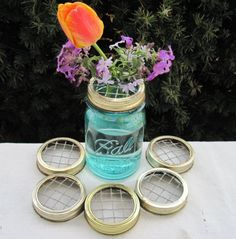 Mason jar lids to help with floral arrangements