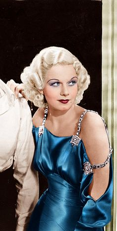 Jean Harlow-colorized...kind of obscene, the original dress was likely gray...