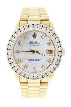 Vintage Rolex Unisex Datejust 18K Yellow Gold Mother of Pearl Diamond Watch