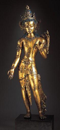 Bodhisattva, Nepal, 1200-1299, gilt copper with semi-precious stones