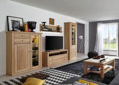 Wohnwand Verona Wohnzimmerschrank Holz Eiche Bianco teilmassiv 20730. Buy now at https://www.moebel-wohnbar.de/wohnwand-verona-wohnzimmerschrank-holz-eiche-bianco-teilmassiv-20730