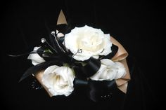 White spray rose on black and tan satin ribbon #corsage #prom by Emil J Nagengast Florist Albany, NY