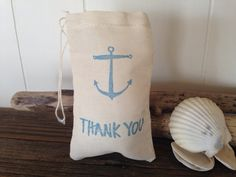 Anchor Thank You Muslin Bag Nautical Wedding Party by SweetThymes, $15.00