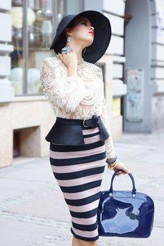 Stripe Pencil Skirt | Choies