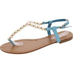 M.G Shoes - Women's Pearl T-Sandal - Blue