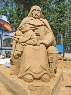 Darth Vader and Yoda star wars sand art