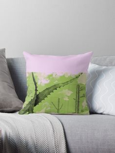 'Vintage Cactus in green ' Throw Pillow by Amanda D-Hay