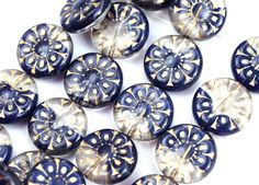 18mm Dark Blue and Crystal mixed color, Golden wash, Czech glass Round tablet floral ornament beads - 2pc - 2866 by MayaHoney on Etsy