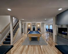 Home Design: Basement Game Room And Gas Fireplace In Contemporary Basement Design Ideas With Contemporary Rug And Carpet For Stairs Also Handrails For Stairs Basement Colors, Game Room Basement, Basement Walls, Basement Bedrooms, Basement Bathroom, Basement Ideas, Basement Pool, Bathroom Ideas, Cozy Basement