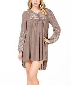 This Olive Embroidered Shift Dress by MONORENO by Mür is perfect! #zulilyfinds