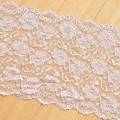 Incarnadine Strechy Lace Trim Rose Embroidered Lace by Lacebeauty, $5.99