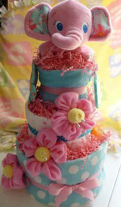 Pink Elephant Diaper Cake  via Etsy
