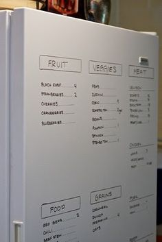 What you have in your fridge, paint fridge door with white board paint