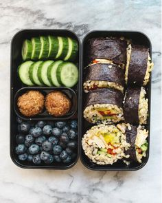 Final lunch idea Sushi Burrito Cucumber Blueberries and PBJhellip