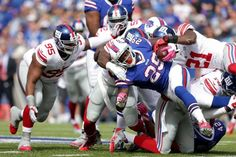 ORCHARD PARK, NY - OCTOBER 04: Karlos Williams #29 of the Buffalo Bills is tackled by Landon Collins #21 of the New York Giants during the first half at Ralph Wilson Stadium on October 4, 2015 in Orchard Park, New York. (Photo by Brett Carlsen/Getty Images) (Credit: Getty Images / Brett Carlsen)