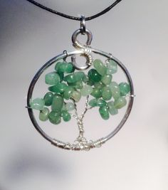 Green Aventurine Tree of Life Pendant Necklace.  The good luck stone!