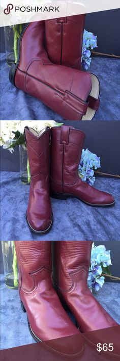 Justin woman's red leather riding boots size 5.5 Justin woman's red leather riding boots size 5.5. Gently loved and in perfect condition, they only thing that shows any wear is the bottom and it is gentle wear. These boots are much better looking than pictures show, they are beautiful and very well made and taken care of. Justin Boots Shoes Heeled Boots